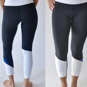 Zyia cobalt light and tight black white leggings